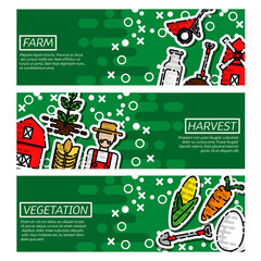Set of Horizontal Banners about farm