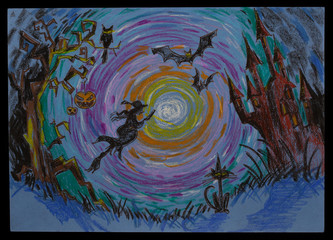 Halloween - witch hat flying on a broom in a full moon night. Artistic pastel drawing