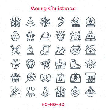 Merry Christmas line icons set black color thin stroke style isolated on white background for your decoration and app design project. Happy New Year. Happy Holiday. Vector Illustration