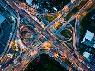 Aluminium Prints Night highway Highway junction from aerial view