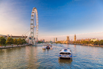 Fototapete - Sunrise with Big Ben, Palace of Westminster, London Eye, Westminster Bridge, River Thames, London, England, UK.