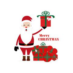 Santa Presents. Santa Claus, presenting something.