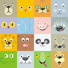 Set of Animal Faces Flat Style Vector Illustration