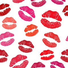 Red lipstick kiss seamless pattern