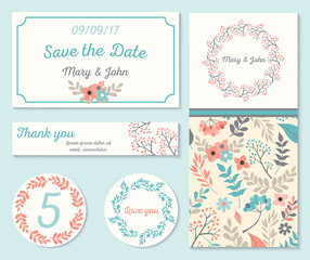 Set of templates for wedding, celebration.Invitation card with abstract floral background. Vector illustration.