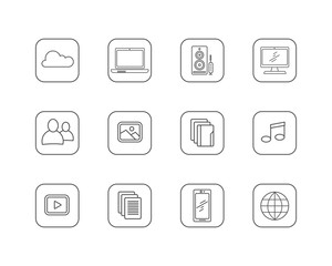 Set of Media and Technology Line Vector Icons