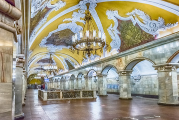 Interior of Komsomolskaya subway station in Moscow, Russia Fototapete