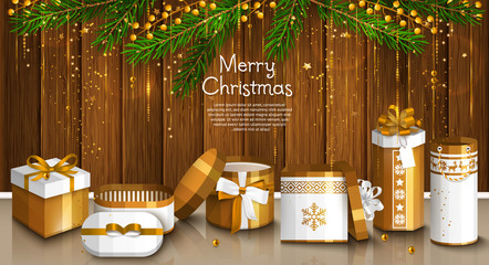 Christmas card with pile of white and golden wrapped gift boxes. Garland made from fir branches and yellow berries. Wooden background. Vector.