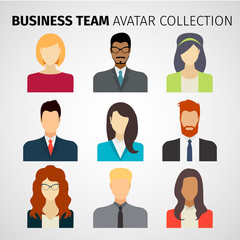 Business team. Avatar collection. Set. Vector illustration.