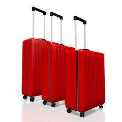 3D suitcases, travel concept