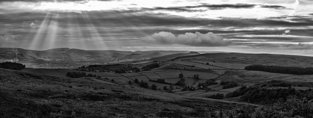 panorama black and white landscape