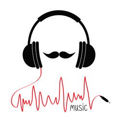 Headphones with red cord. Moustaches Music card. Flat design icon White background Isolated