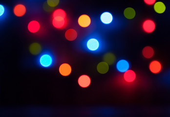 Colorful Bokeh. Lights, Garland, Night City. Christmas Party. Bl