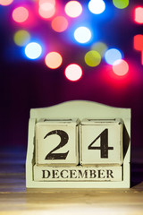 Christmas Eve Date On Calendar. 24th Of December. Colorful Bokeh