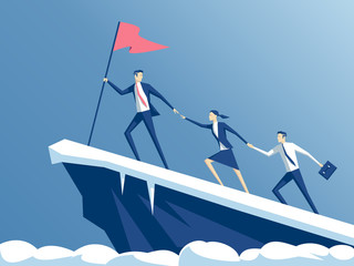 business people climb to the top of the mountain, leader helps the team to climb the cliff and reach the goal, business concept of leadership and teamwork Wall mural