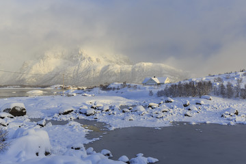 Winter landscape on Vatterfjord on Lofoten Islands, Nordland, Norway