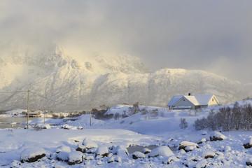 Winter landscape on Vatterfjord on Lofoten Islands, Nordland, Norway