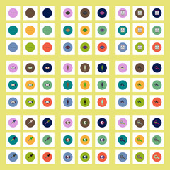 Collection of stylish vector icons in colorful circles vision problems