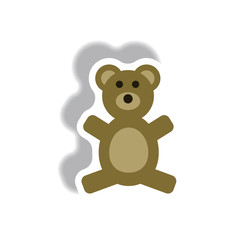stylish icon in paper sticker style toy bear