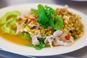 Boiled Pork with Lime Garlic and Chili Sauce (Moo Ma nao), Thai food