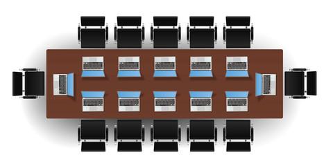 Salle de réunion - Table rectangulaire - Ordinateurs