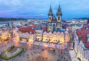 Old Town square in the evening, Prague