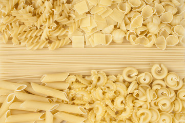 different kind of pasta - background