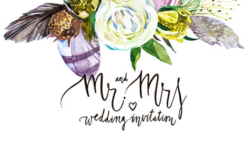 Watercolor abstrackt background whith decorative letter Mr and mrs