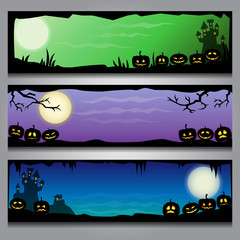 A set of colorful horizontal Halloween headers with black frames and gradient background