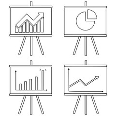 vector set of chart