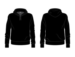 Black men's hoodie template, front and back view