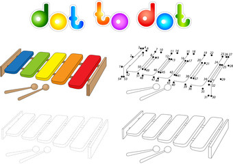 Cartoon xylophone coloring book isolated on white. Dot to dot ga