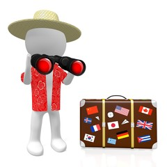 3D tourist holding binoculars and travel suitcase - great for topics like traveling, tourism etc.