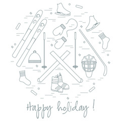 Vector illustration of different elements of sports equipment an