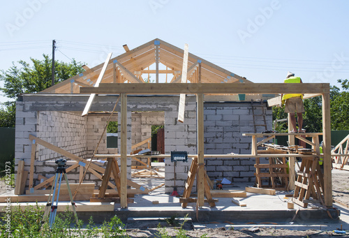 Building New House From Autoclaved Aerated Concrete Blocks With