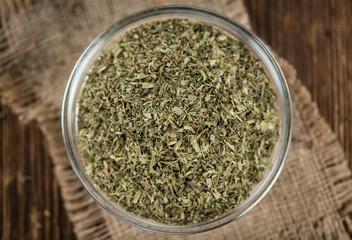 Heap of dried Stevia leaves