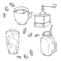 Coffee cups, glass of coffee cocktail, grinder and spices. Hand drawn vector illustration.