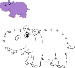 Connect the number to draw the animal educational game for children , Cute hippo