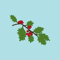 Mistletoe branch illustration