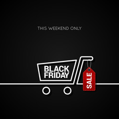 Black Friday sale tag and shopping background