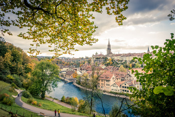 View on to the old city of Bern (Switzerland)