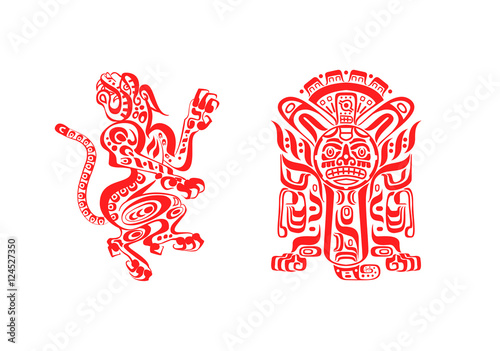 Aztec Mayan Tattoos Jaguar And Warrior In Red Color Isolated