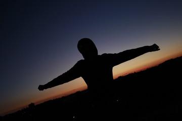 Human Hero Sunset Freedom