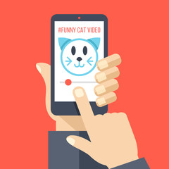 Hand holding smartphone with cat video on screen. Watching funny videos online, movies, fails, viral media on the internet. Flat design vector illustration