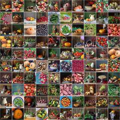 Коллаж из натюрмортов с овощами, ягодами и фруктами.