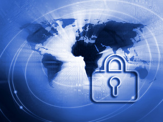 Internet security business background concept in blue color