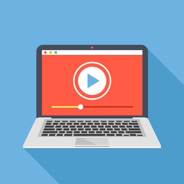 Modern laptop with video player on screen. Online video, watch movies, educational materials, web courses concepts. Long shadow flat design. Vector illustration
