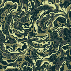 pattern with the image texture of smoke beige green and gray shades.