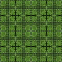Halftone green and black inverse patterns composed as chessboard, seamless vector background