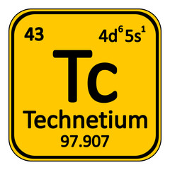 Periodic table element technetium icon.